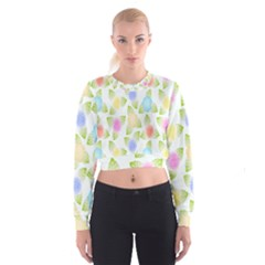 Fruit Grapes Purple Yellow Blue Pink Rainbow Leaf Green Cropped Sweatshirt by Mariart