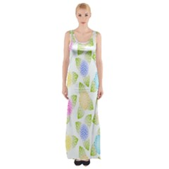 Fruit Grapes Purple Yellow Blue Pink Rainbow Leaf Green Maxi Thigh Split Dress by Mariart