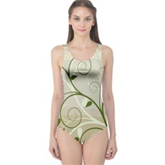Leaf Sexy Green Gray One Piece Swimsuit