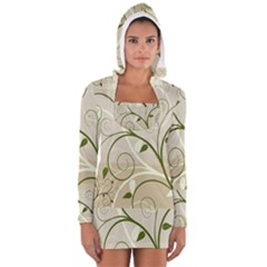 Leaf Sexy Green Gray Women s Long Sleeve Hooded T Shirt