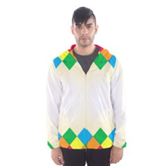 Plaid Wave Chevron Rainbow Color Hooded Wind Breaker (men) by Mariart