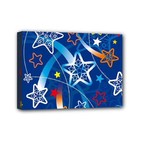 Line Star Space Blue Sky Light Rainbow Red Orange White Yellow Mini Canvas 7  X 5
