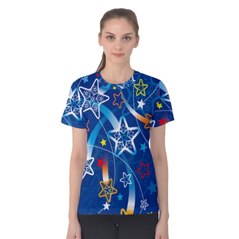 Line Star Space Blue Sky Light Rainbow Red Orange White Yellow Women s Cotton Tee by Mariart