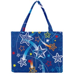 Line Star Space Blue Sky Light Rainbow Red Orange White Yellow Mini Tote Bag by Mariart