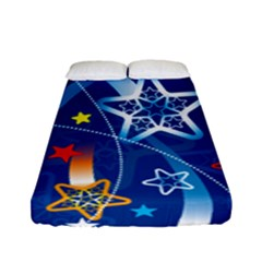 Line Star Space Blue Sky Light Rainbow Red Orange White Yellow Fitted Sheet (full/ Double Size) by Mariart