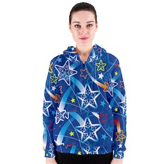 Line Star Space Blue Sky Light Rainbow Red Orange White Yellow Women s Zipper Hoodie by Mariart