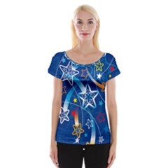 Line Star Space Blue Sky Light Rainbow Red Orange White Yellow Women s Cap Sleeve Top