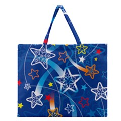 Line Star Space Blue Sky Light Rainbow Red Orange White Yellow Zipper Large Tote Bag by Mariart