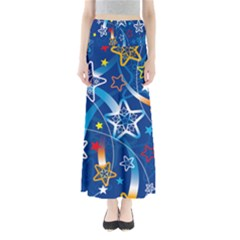 Line Star Space Blue Sky Light Rainbow Red Orange White Yellow Maxi Skirts by Mariart