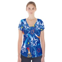 Line Star Space Blue Sky Light Rainbow Red Orange White Yellow Short Sleeve Front Detail Top by Mariart