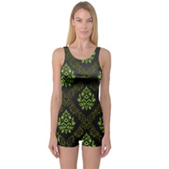 Leaf Green One Piece Boyleg Swimsuit by Mariart