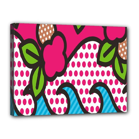 Rose Floral Circle Line Polka Dot Leaf Pink Blue Green Canvas 16  X 12  by Mariart
