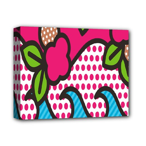 Rose Floral Circle Line Polka Dot Leaf Pink Blue Green Deluxe Canvas 14  X 11