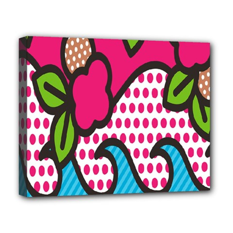 Rose Floral Circle Line Polka Dot Leaf Pink Blue Green Deluxe Canvas 20  X 16   by Mariart