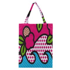 Rose Floral Circle Line Polka Dot Leaf Pink Blue Green Classic Tote Bag by Mariart
