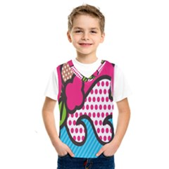 Rose Floral Circle Line Polka Dot Leaf Pink Blue Green Kids  Sportswear