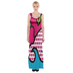 Rose Floral Circle Line Polka Dot Leaf Pink Blue Green Maxi Thigh Split Dress by Mariart