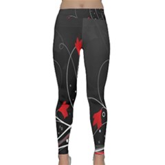 Star Red Flower Floral Black Leaf Polka Circle Classic Yoga Leggings by Mariart