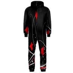 Star Red Flower Floral Black Leaf Polka Circle Hooded Jumpsuit (men)  by Mariart