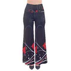 Star Red Flower Floral Black Leaf Polka Circle Pants by Mariart