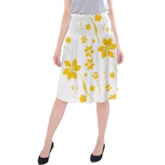Shamrock Yellow Star Flower Floral Star Midi Beach Skirt by Mariart