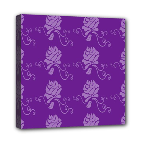 Purple Flower Rose Sunflower Mini Canvas 8  X 8  by Mariart