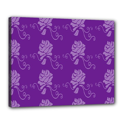 Purple Flower Rose Sunflower Canvas 20  X 16  by Mariart