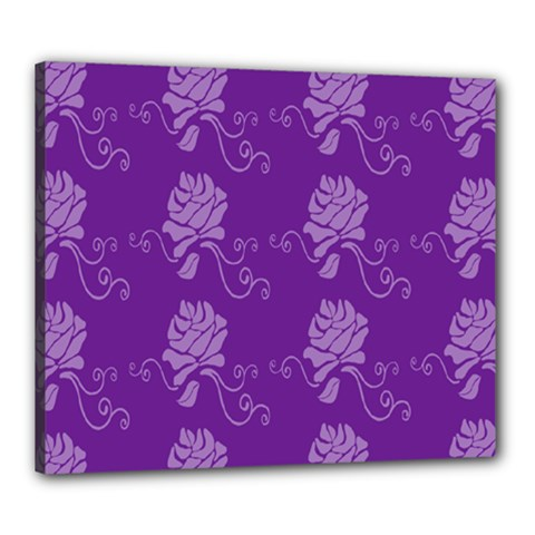Purple Flower Rose Sunflower Canvas 24  X 20  by Mariart