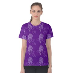 Purple Flower Rose Sunflower Women s Cotton Tee