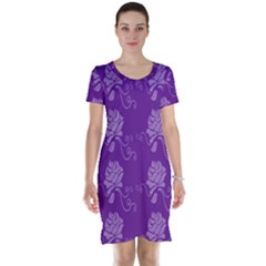 Purple Flower Rose Sunflower Short Sleeve Nightdress by Mariart