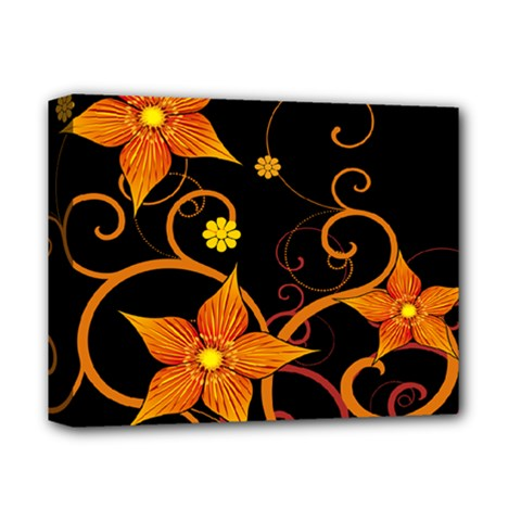 Star Leaf Orange Gold Red Black Flower Floral Deluxe Canvas 14  X 11  by Mariart
