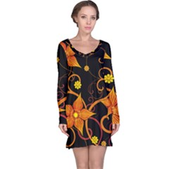 Star Leaf Orange Gold Red Black Flower Floral Long Sleeve Nightdress