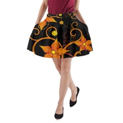 Star Leaf Orange Gold Red Black Flower Floral A Line Pocket Skirt