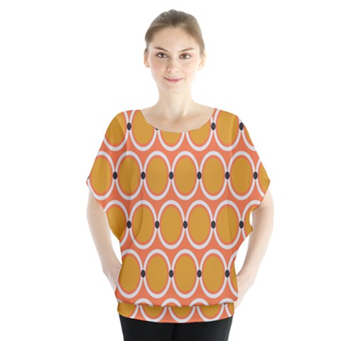 Orange Circle Polka Blouse by Mariart