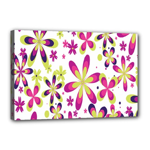 Star Flower Purple Pink Canvas 18  X 12  by Mariart