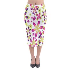 Star Flower Purple Pink Midi Pencil Skirt by Mariart