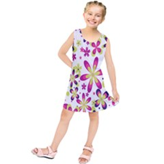 Star Flower Purple Pink Kids  Tunic Dress by Mariart