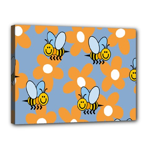 Wasp Bee Honey Flower Floral Star Orange Yellow Gray Canvas 16  X 12  by Mariart