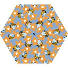 Wasp Bee Honey Flower Floral Star Orange Yellow Gray Mini Folding Umbrellas by Mariart