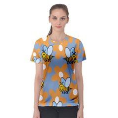 Wasp Bee Honey Flower Floral Star Orange Yellow Gray Women s Sport Mesh Tee by Mariart