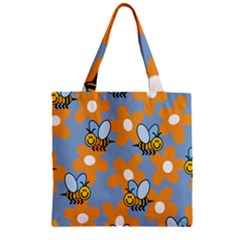 Wasp Bee Honey Flower Floral Star Orange Yellow Gray Zipper Grocery Tote Bag by Mariart