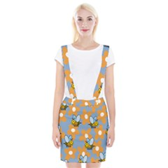 Wasp Bee Honey Flower Floral Star Orange Yellow Gray Braces Suspender Skirt by Mariart