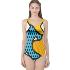 Wave Chevron Orange Blue Circle Plaid Polka Dot One Piece Swimsuit by Mariart