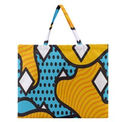 Wave Chevron Orange Blue Circle Plaid Polka Dot Zipper Large Tote Bag by Mariart