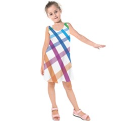 Webbing Line Color Rainbow Kids  Sleeveless Dress by Mariart