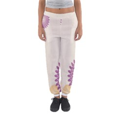 Star Sunflower Floral Grey Purple Orange Women s Jogger Sweatpants by Mariart