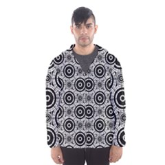 Geometric Black And White Hooded Wind Breaker (men) by linceazul