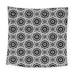 Geometric Black And White Square Tapestry (large) by linceazul