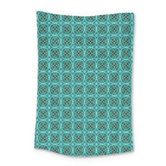 Turquoise Damask Pattern Small Tapestry by linceazul