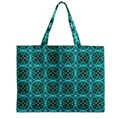 Turquoise Damask Pattern Zipper Mini Tote Bag by linceazul